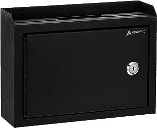 "AdirOffice Multi Purpose Wall Mountable Suggestion Box, 9.75"" x 7"" x 3"" - Black"