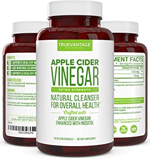 Apple Cider Vinegar Pills with Inositol- Supports Detox Cleanse, Natural Weight loss, Digestive Enzymes and Healthy Blood Sugar-All Natural Apple Cider Cleanse Keto Burner