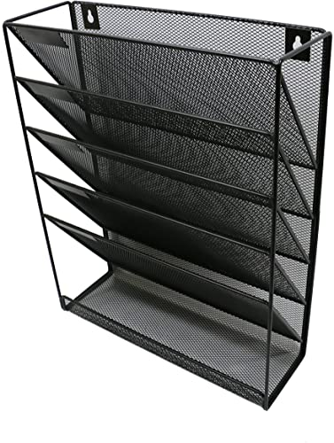 new arrival Wall File outlet sale Mesh discount Organizer - 5 Pockets - Hanging Letter & Document Holder - Black - for Office and Home sale
