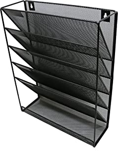Wall File Mesh Organizer - 5 Pockets - Hanging Letter & Document Holder - Black - for Office and Home