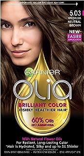 Garnier Olia Ammonia-Free Brilliant Color Oil-Rich Permanent Hair Color, 5.03 Medium Neutral Brown (Pack of 1) Brown Hair Dye