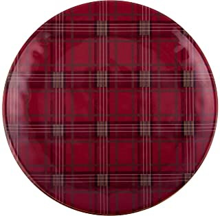 Melange 608410091412 6 -Piece 100% Melamine Salad Plates Christmas Collection-Red Plaid Shatter-Proof and Chip-Resistant|, 10.5