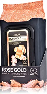 Rose Gold Luxury Hydrating Facial Wipes By Azure – Removes Makeup, Dirt and Oils | Reduces Wrinkles and Fine Lines | Repairs Uneven Skin Tone - 60 Count
