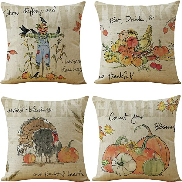 WOMHOPE Set Of 4 Harvest Thanksgiving Fall Greetings Pumpkin Throw Pillow Covers Pillow Cases Square Cushion Cases Burlap Toss 18 X 18 Inch For Living Room Couch And Bed Turkey