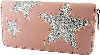 Cartera para Mujer con Estrellas de Poliuretano y Cremallera Circular. (Rosa)