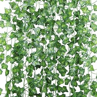 U'Artlines 24 st (210 cm vardera) falska murgröna konstgjorda murgröna blad grönska girlanger hängande för bröllopsfest tr...