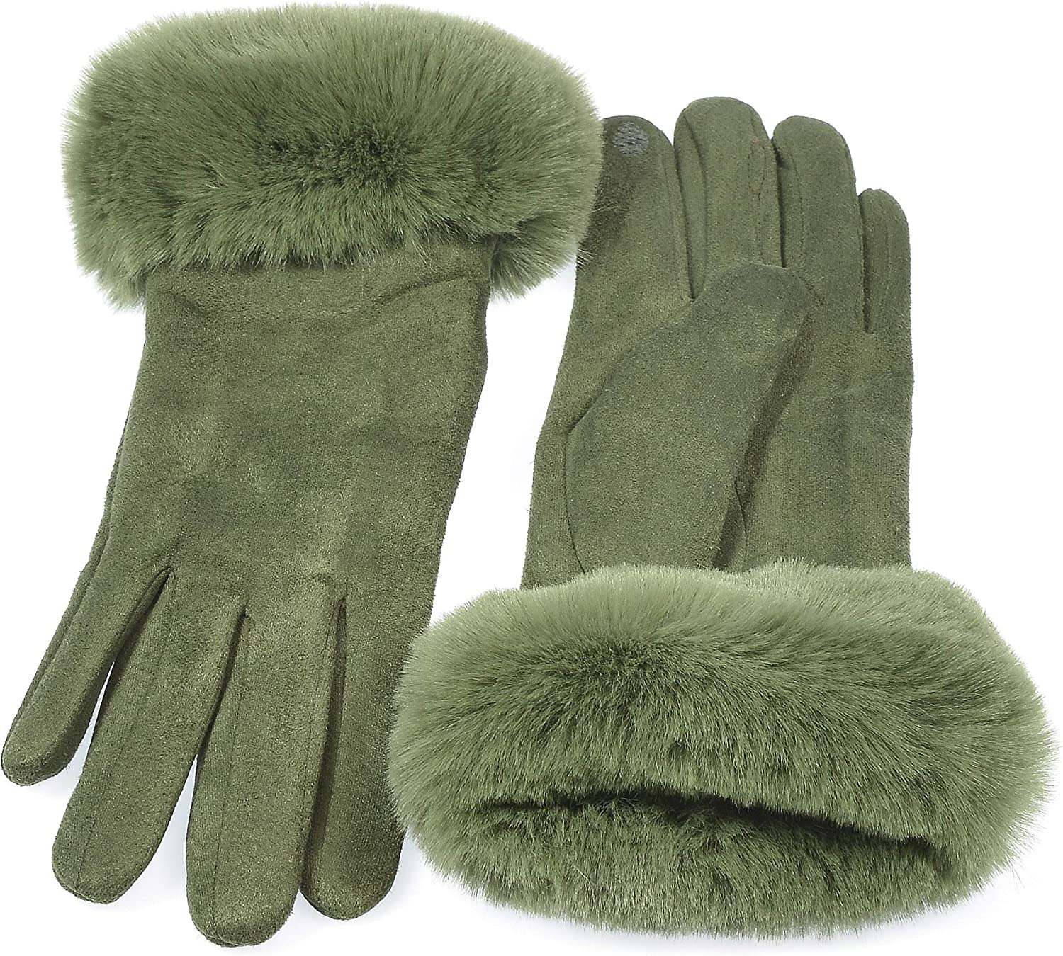 Hand By Hand Faux Suede I Touch Gloves Faux Fur Cuff and Lined Warmth