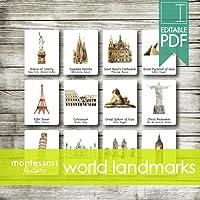 WORLD ARCHITECTURE LANDMARKS • Montessori Cards • Flash Cards • Three Part Cards