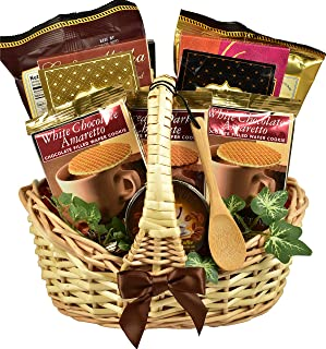 Gift Basket Village Village Caffe, Coffee Lovers Gift Basket (Small) with Sweetsticks, Coffee Candy, Mochas and Gourmet Coffees, 4 Pound