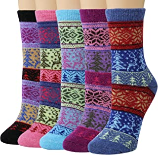 Pack of 5 Womens Winter Socks Warm Thick Knit Wool Soft...