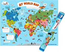 FlyingKids World Map Poster for Kids. Educational, Interactive, Personalized, Laminated Nursery Wall Art That Grows up with Kids. A Travel map That Brings Geography Alive in a Fun Way.