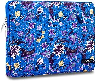 Zinmark 新型 13 インナーバッグ パソコン ケース スリーブ MacBook Air 2018、MacBook Pro 2013-2017/2018バージョン、 Surface Pro 2017&3&4&6 専用、バティックスタイル、衝撃吸収、 撥水加工 青い花