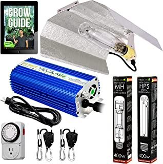Yield Lab Horticulture 400w HPS MH Grow Light Wing Reflector Kit Easy Setup Full Spectrum System for Indoor Plants and Hydroponics – Free Timer and 12 Week Grow Guide DVD