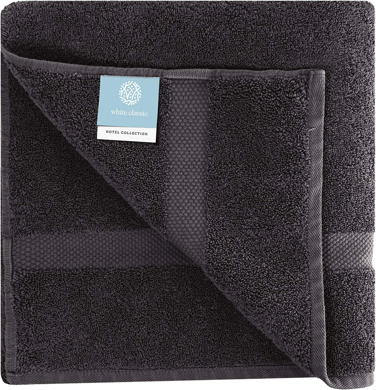 Set of 4 White Classic Luxury Cotton Bath Towels Large Black, 4 27x54 Inch | Highly Absorbent Hotel spa Collection Bathroom Towel