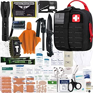 EVERLIT Survival Upgraded Survival Kit First Aid Kit Gear Trauma Trauma with 1000D Nylon Laser Cut Tactical EMT Pouch for Outdoor، Camping، Hunting، Hiking، Earthquake، Home، Office