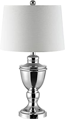 Safavieh TBL4225A Lighting Collection Ressa Polished Nickel 27-inch (LED Bulb Included) Table Lamps, Nickle