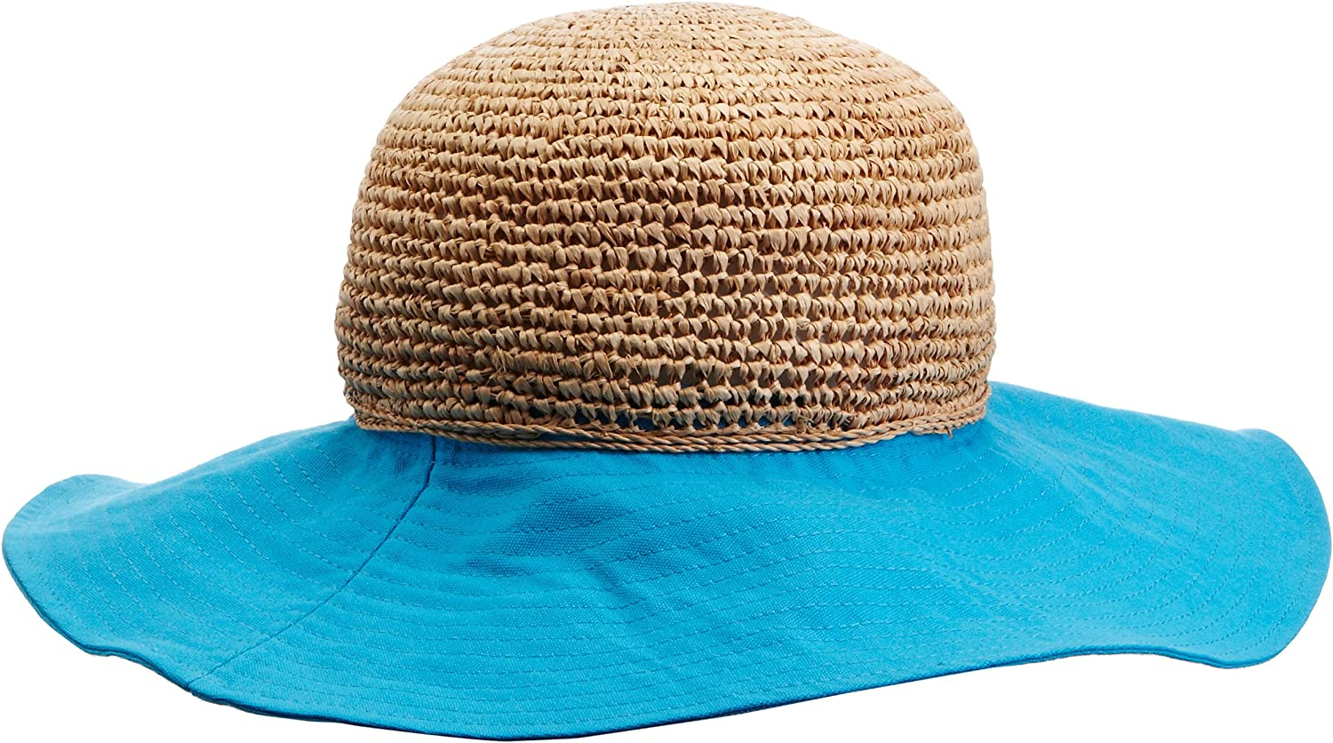 Echo Design Women's Beach Turquoise bluee & Straw Floppy Sun Hat (S M)