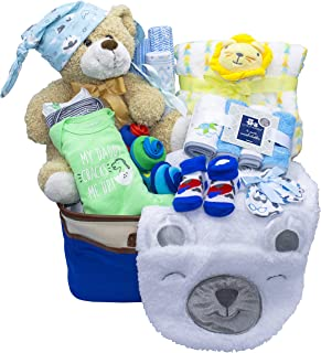 Joyful Arrival Deluxe Baby Gift Set (Girl or Boy) - Diaper Organizer, Baby Clothes & More (Mainly Clothes, Boy)