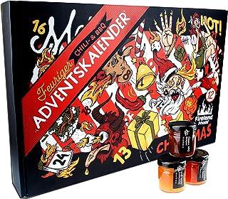 Chili- und BBQ-Adventskalender mit 24 Produkten | von mild bis höllisch | Geschenk für Advent und Weihnachten | Geschenk für Männer | Version mit Türchen | 960ml 24x40ml