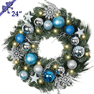 Christmas Wreath for Front Door, Pre-Lit 24 Inch Silver Blue Christmas Door Wreath, Decorative Lighted Wreath with Artificial Spruce, Berries, Christmas Ball Ornaments, Battery Operated 20 LED Lights