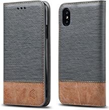 for iPhone Xs/iPhone X Case,WenBelle Blazers Series,Stand Feature,Double Layer Shock Absorbing Premium Soft PU Color Matching Leather Wallet Cover Flip Cases for Apple iPhone Xs/X 5.8 inch (Grey)
