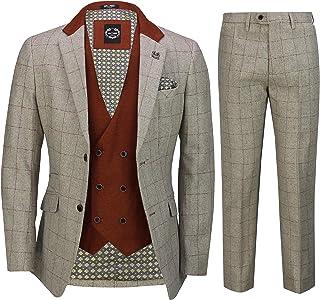 Mens 3 Piece Tweed Herringbone Red Check on Beige Retro Vintage Suit Tailored Fit