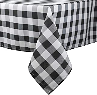 PALADY Black Checkered Tablecloth,60 x 120 Inch,Rectangle/Oblong Plaid Table Cloth,Indoor/Outdoor Party Banquet Picnic,Easy Care Washable Gingham Cloth (Black)