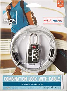 Lewis N. Clark TSA-Accepted Luggage Lock's with TravelSentry: 3-Dial Combination 48in Coated Steel Cable, The Smartest Saf...