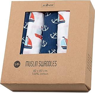 Zollner Paquete de 5 muselinas para bebé 100% algodón, 80x80 cm, unisex
