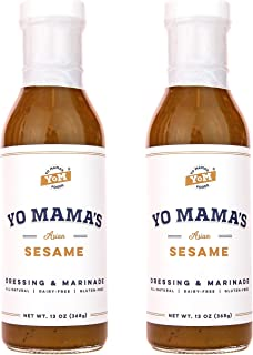 Gourmet Natural Asian Sesame Dressing and Marinade by Yo Mama's Foods | Large 13 oz Bottle | Low Carb, Low Sodium, Gluten-Free, and made from Real non-GMO Tamari!