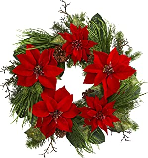 """Nearly Natural 28"""" Poinsettia and Pine Wreath, Red"""