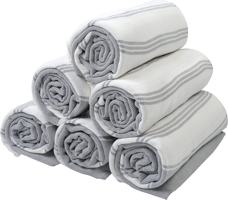 (SET of 6) 100% Turkish Cotton Bath Beach Hammam Towel Peshtemal Throw Foua Blanket Set (Grey2)