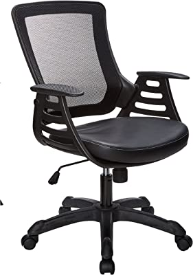 Modway Veer Office Chair with Mesh Back and Vinyl Seat, Black with Ladder Arms