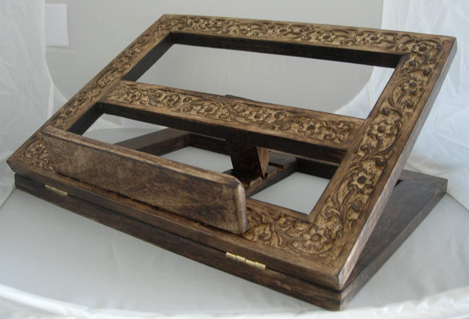 Handcarved Wooden Folding Book Bible Stand