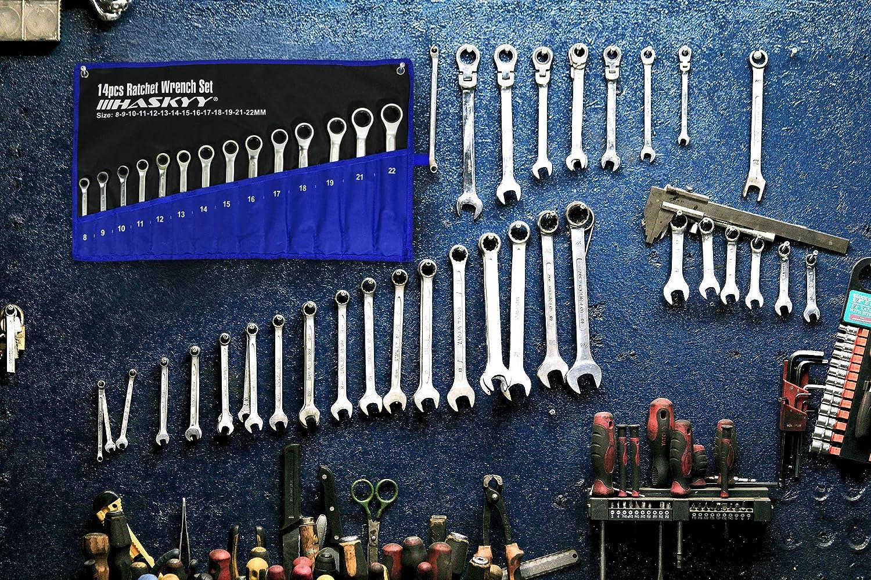 Juego de llaves de carraca 12 piezas, 8-19 mm HASKYY