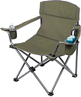 Internet's Best XL Padded Camping Folding Chair - Cooler Bag - Outdoor - Sports - Insulated Cup Holder - Heavy Duty - Carrying Case - Beach - Extra Wide - Quad