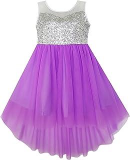 Sunny Fashion Vestido para niña Lentejuela Malla Fiesta Boda Princesa Tul 7-14 años