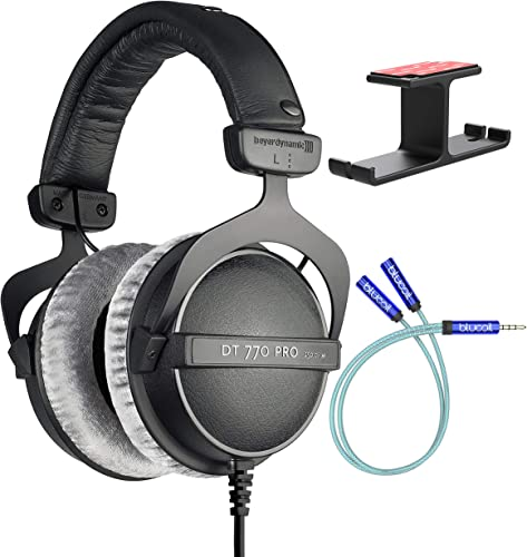 popular Beyerdynamic DT 770 PRO 250 Ohm Closed-Back Studio Mixing Headphones Bundle with Blucoil Aluminum Dual outlet online sale Suspension Headphone Hanger, and high quality Y Splitter for Audio and Mic online sale