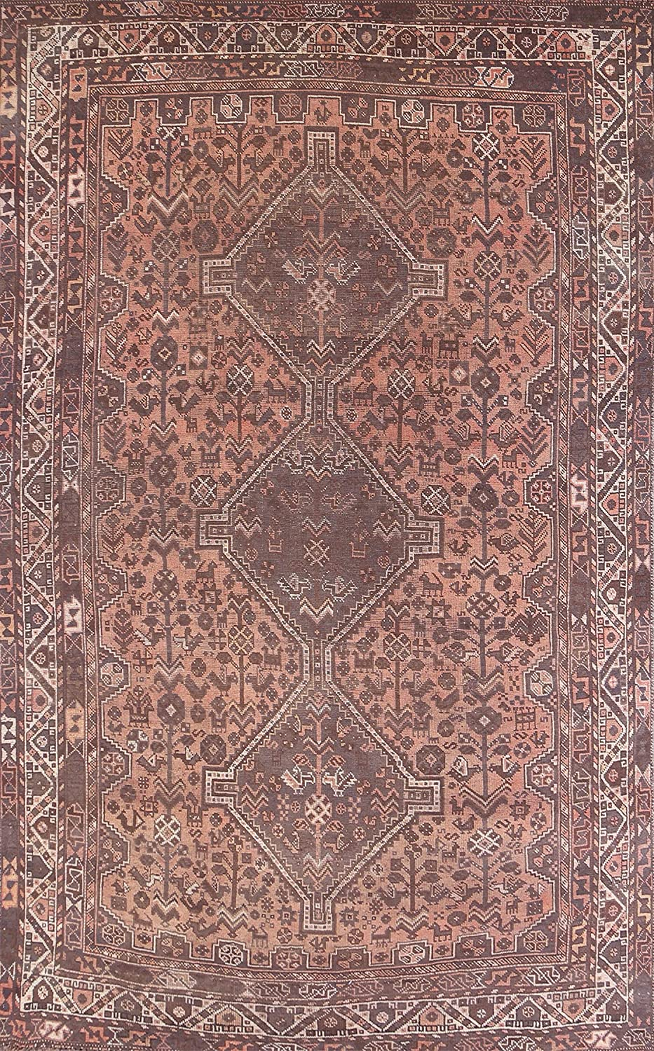 Ranking TOP18 Antique Pink Geometric National products Shiiraz Oriental Wo Area Rug Hand-Knotted