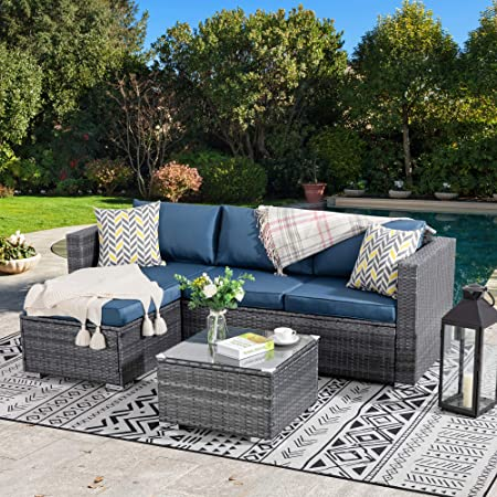 Walsunny Outdoor Furniture Patio Sets,Low Back All-Weather Small Rattan Sectional Sofa with Tea Table&Washable Couch Cushions&Upgrade Wicker (Aegean Blue)