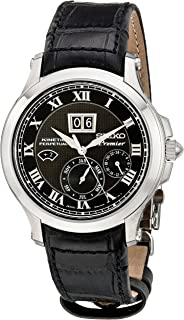 Men's SNP041P2 Leather Synthetic Analog with Black Dial Watch