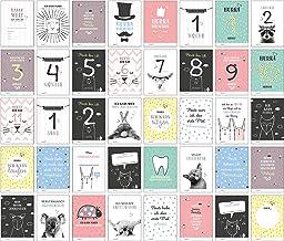 40 Baby Meilenstein-Karten für das 1. Lebensjahr für Mädchen und Junge. Baby Milestone Cards deutsch, zur Erinnerung der E...