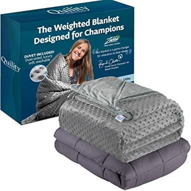 Quility Premium Adult Weighted Blanket & Removable Cover - 20 lbs - 60 x80  - for Individual Between 190-240 lbs - Full Size Bed - Premium Glass Beads - Cotton/Minky - Grey/Grey Color