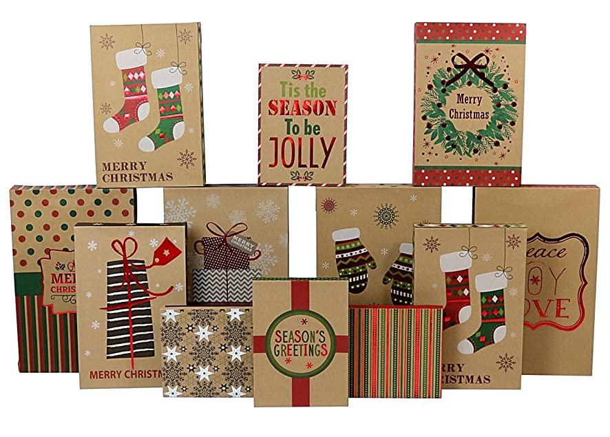 Iconikal Christmas - Holiday Kraft Gift Boxes Assortment - 3 Sizes - 12 Pack
