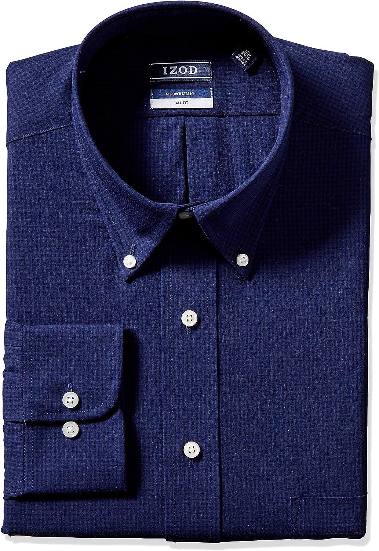 IZOD Men's TALL FIT Dress Shirts Stretch-Check-(Big and Tall)