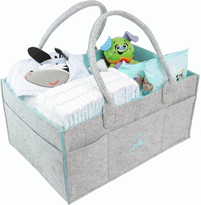 Ooki Baby Large Diaper Caddy Minimalist Nursery Tote Bag Foldable Changing Table Storage Organizer For Multiple Baby Supplies Portable Car Seat Travel Basket With Removable Organizer Inserts