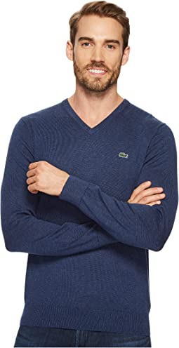 V-Neck Cotton Jersey Sweater