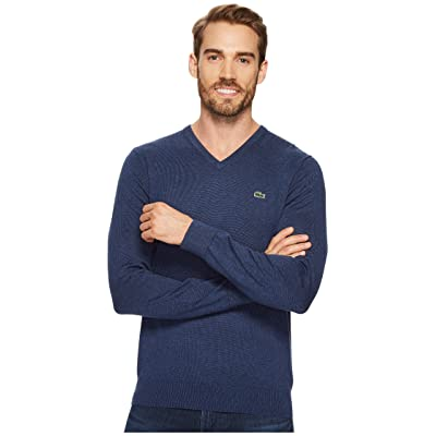 Lacoste V-Neck Cotton Jersey Sweater (Anchor Chine) Men