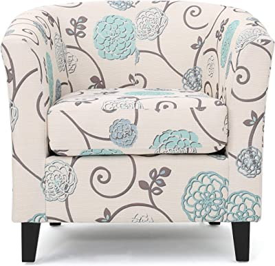 Christopher Knight Home Preston Fabric Club Chair, White / Blue