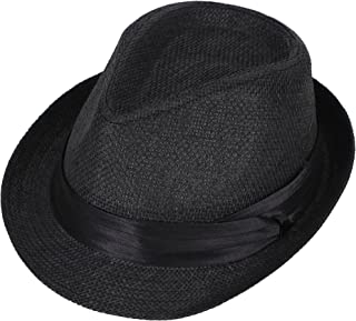 Simplicity Unisex Summer Cool Woven Straw Fedora Hat & Stylish Hat Band